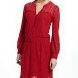 🆕 Anthropologie Leifnotes Red Lace Long Sleeved Dress - Women's Size Medium